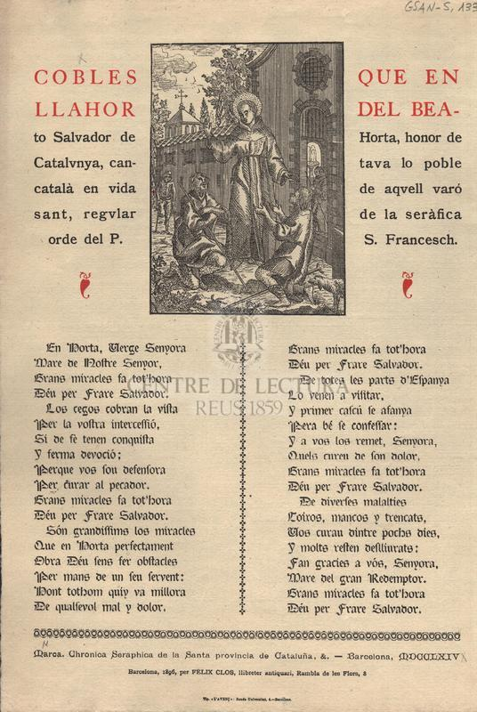 Cobles que en llahor del Beato Salvador d'Horta, honor de Catalunya, cantava lo poble català en vida de aquell varó sant, regular de la seràfica orde del P. S. Francesch