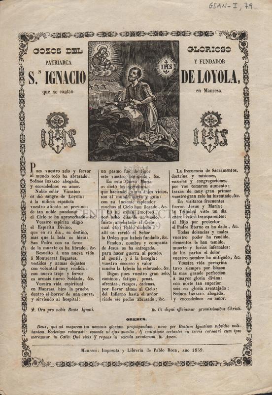Gozos del glorioso patriarca y fundador S. Ignacio de Loyola que se cantan en Manresa