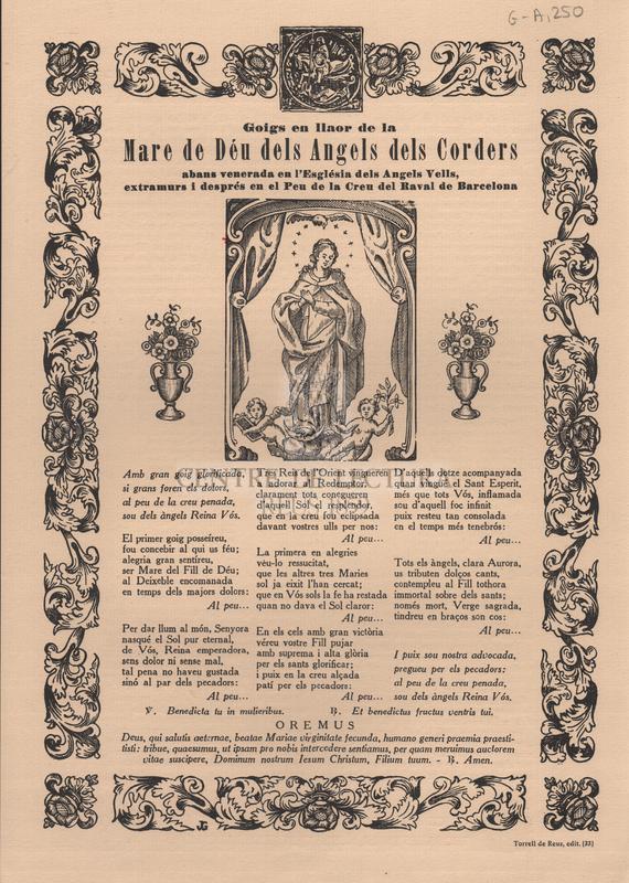 Goigs en llaor de la Mare de Déu dels Angels dels Corders abans venerada en l'Església dels Angels Vells, extramurs i després en el Peu de la Creu del Raval de Barcelona