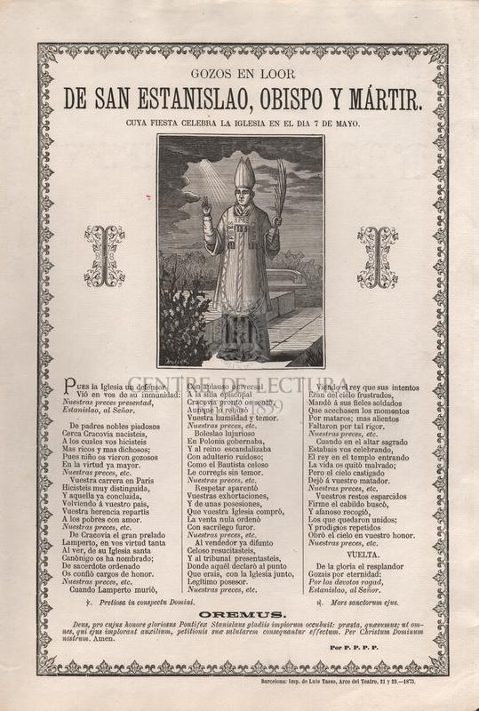 Gozos en loor de San Estanislao, obispo y mártir. Cuya fiesta selebra la iglesia en el dia 7 de mayo