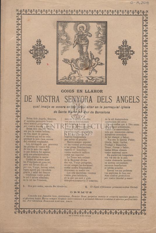 Goigs en llahor de Nostra Senyora dels Angels qual imatge se venera en son propi altar en la parroquial iglesia de Santa Maria del Mar de Barcelona