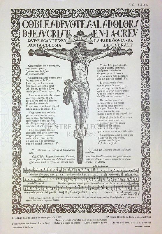 Cobles devotes als dolors de Jesucrist en la creu que es canten en la parròquia de Santa Coloma de Queralt