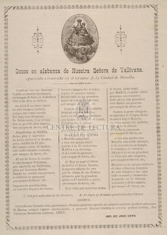 Gozos en alabanza de Nuestra Señora de Vallivana, aparecida y venerada en el término de la Ciudad de Morella