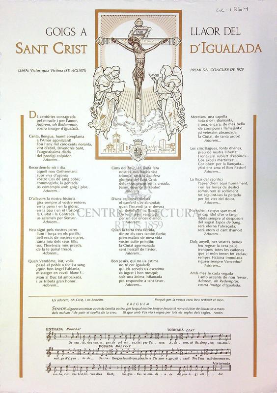 Goigs a llaor del Sant Crist d'Igualada