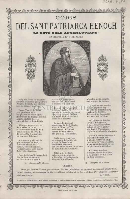 Goigs del Sant Patriarca Henoch. Lo seté dels antidiluvians. Sa memoria en 3 de Janer