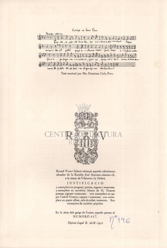 Goigs en lloança del glorios Apostol Sant Pau excels patro de la Parroquia de Sant Paul d'Ordal Arquebisbat de Barcelona