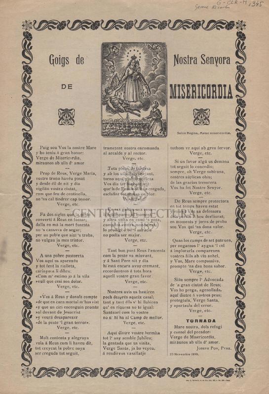 Goigs de Nostra Senyora de Misericordia.