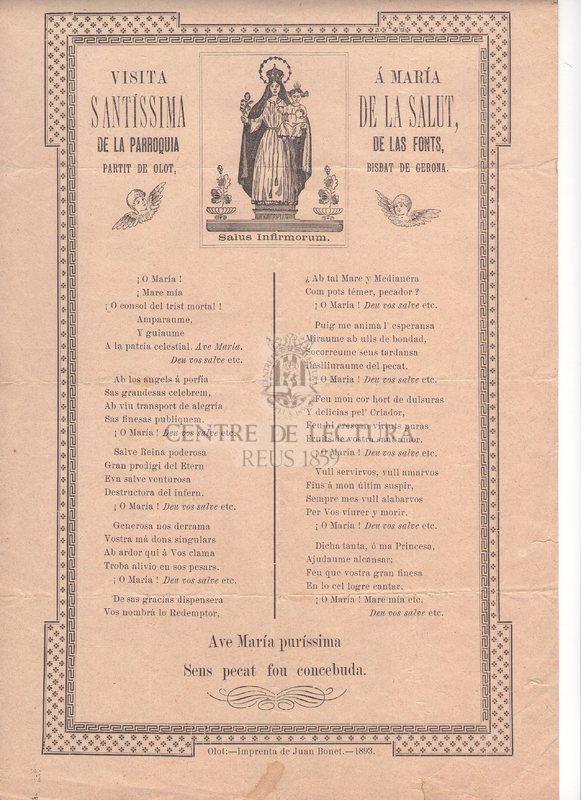 Visita á María Santíssima de la Salut, de la parroquia de las Fonts, partit de Olot, Bisbat de Gerona