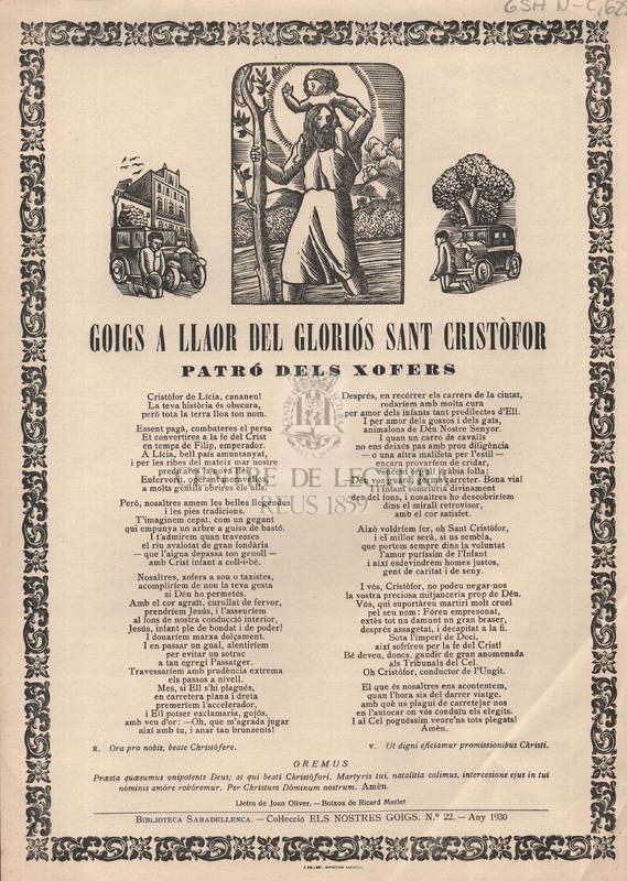 Goigs a llaor del llaor del gloriós Sant Cristòfor patró dels xofers