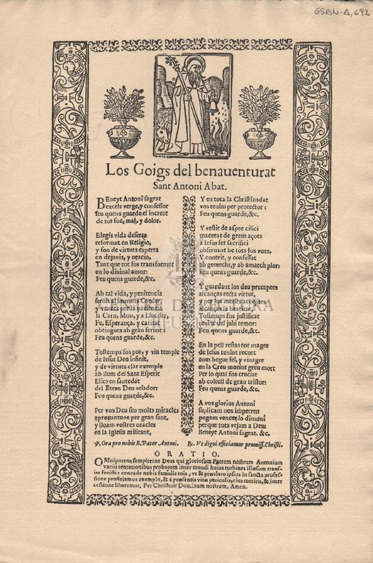 Los Goigs del benaventurat Sant Antoni Abat.