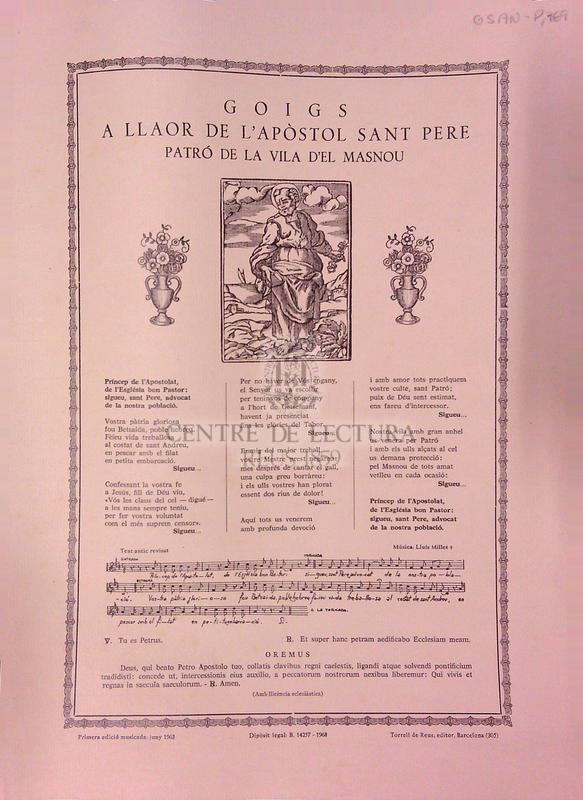 Goigs a llaor de l'Apòstol Sant Pere patró de la Vila de Masnou