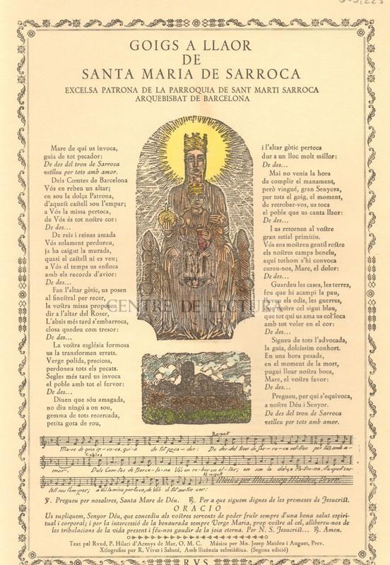 Goigs a llaor de Santa Maria de Sarroca excelsa patrona de la Parroquia de Sant marti Sarroca Arquebisbat de Barcelona