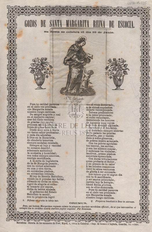 Gozos de Santa Margarita reina de Escocia. Su fiesta se celebra el dia 10 de junio