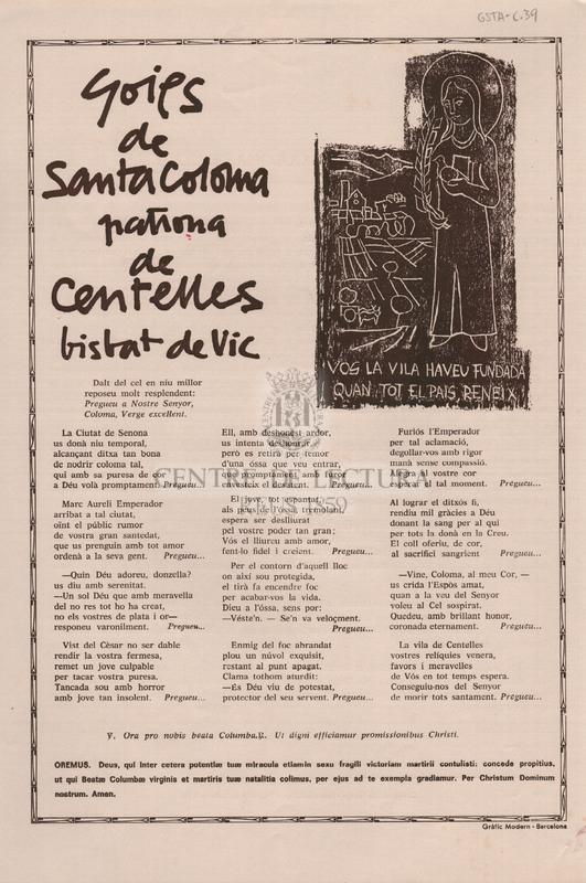 Goigs de Santa Coloma patrona de Centelles bisbat de Vic.