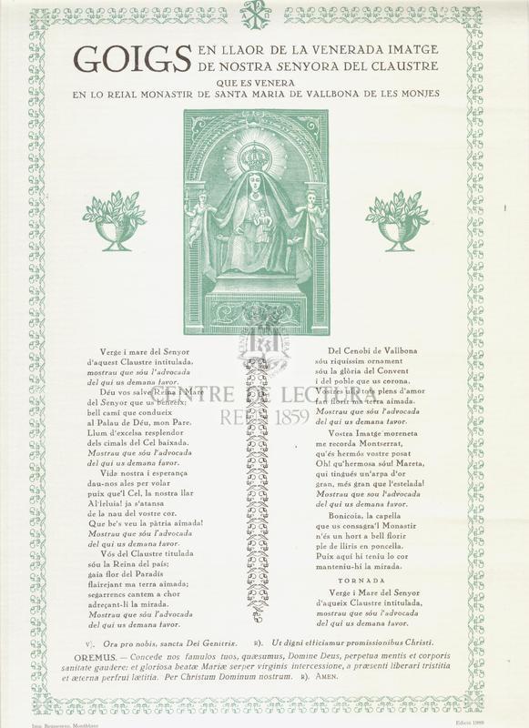 Goigs en llahor de la venerada imatge de Nostra Senyora del Claustre, que es venera en lo Reial Monastir de Santa Maria de Vallbona de les Monjes