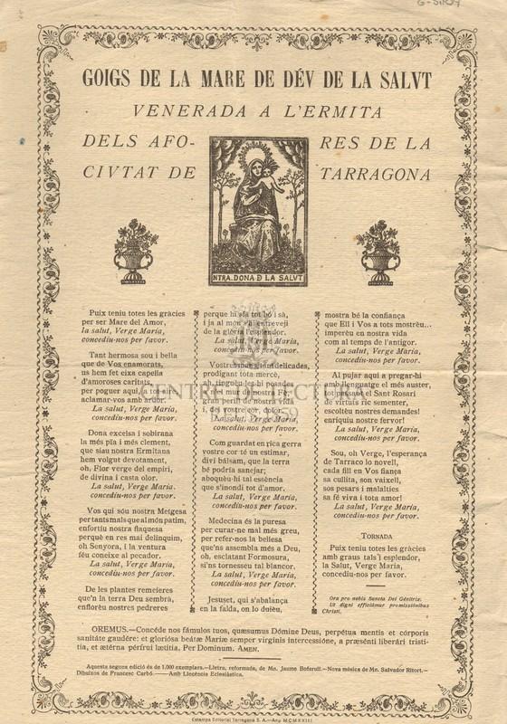 Goigs de la Mare de Déu de la Salut venerada a l'Ermita dels afores de la ciutat de Tarragona