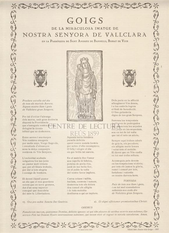 Goigs de la miraculosa imatge de Nostra Senyora de Vallclara en la Parròquia de Sant Andreu de Bansells, Bisbat de Vich