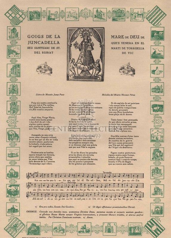 Goigs de la Mare de Deu de Juncadella que's venera en el seu santuari de St . Marti de Torruella del bisbat de Vic.