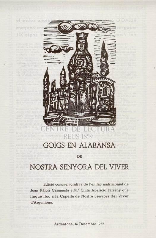 Goigs en alabansa de la miraculosa Imatge de Nostra Senyora del Viver, venerada en sa Capella, Construida en lo Terme de Argentona