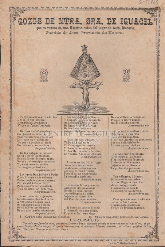 Gozos de Ntra. Sra. de Iguacel que se venera en una Hermita del lugar de Acin, Diocesis, Partido de Jaca, Provincia de Huesca.
