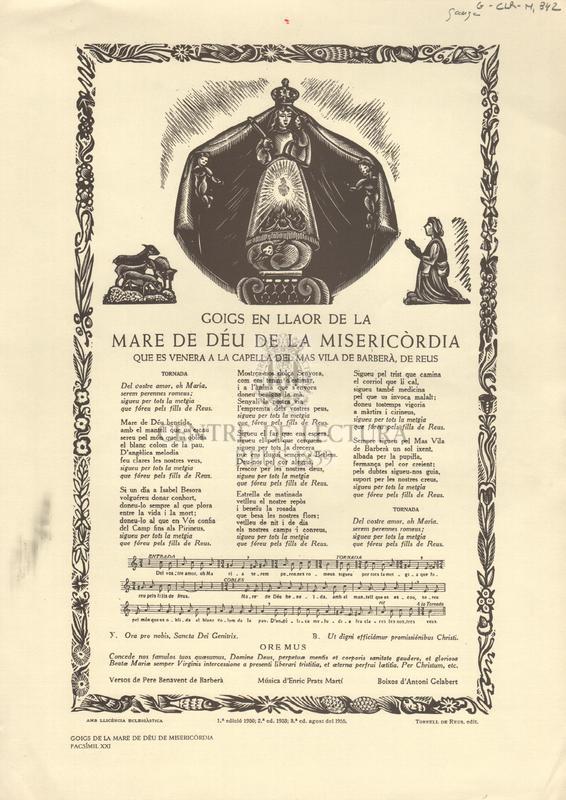 Goigs en llaor de la Mare de Déu de Misericòrdia que es venera a la capella del Mas Vila de Barberà, de Reus.