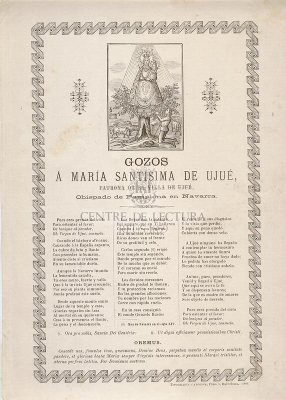 Gozos á María Santísima de Ujué, patrona de la Villa de Ujué, Obispado de Pamplona en Navarra