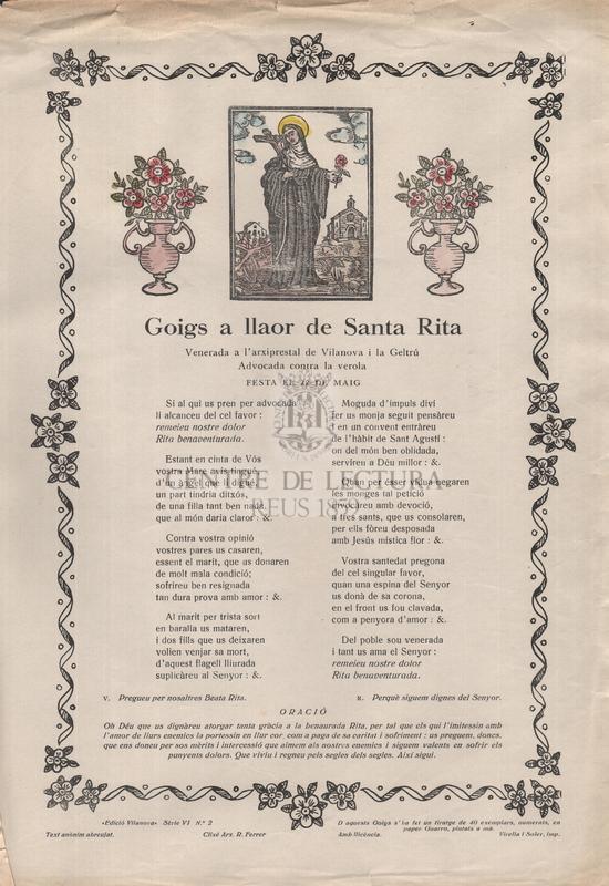 Goigs a llaor de Santa Rita, Venerada a l'arxiprestal de Vilanova i la Geltrú, Advocada contra la verola, festa el 22 de maig