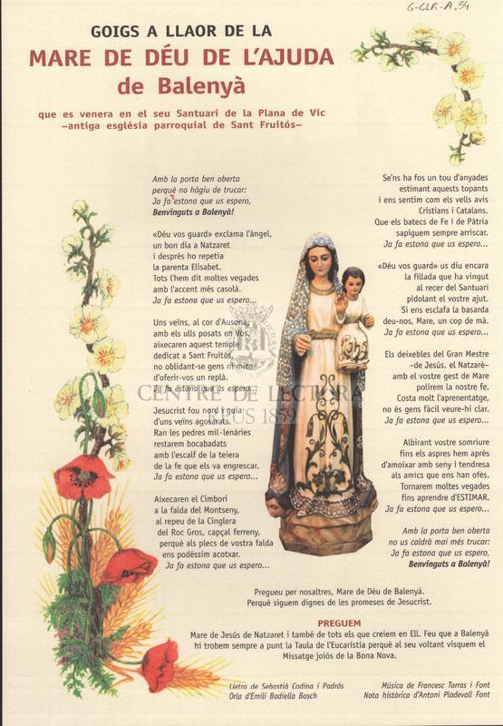 Goigs a llaor de la Mare de Déu de l'Ajuda de Balenyà que es venera en el seu Santuari de la Plana de Vic - antiga església parroquial de Sant Fruitós-