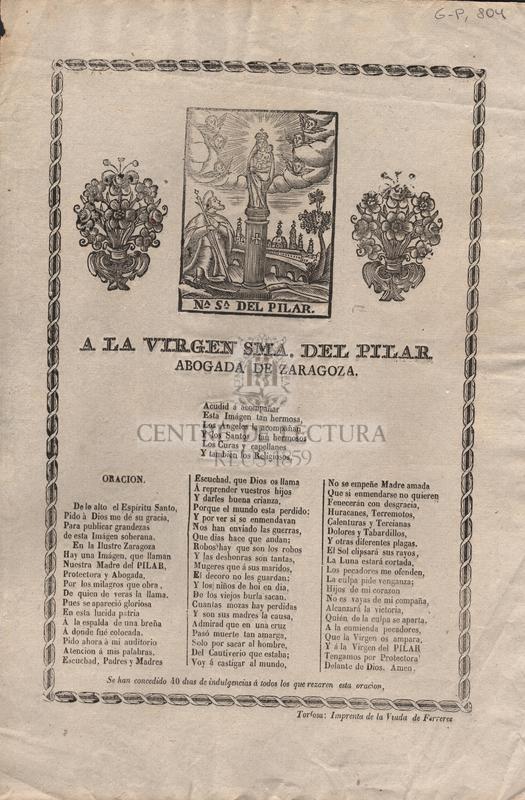 A la virgen S.Ma del Pilar abogada de Zaragoza