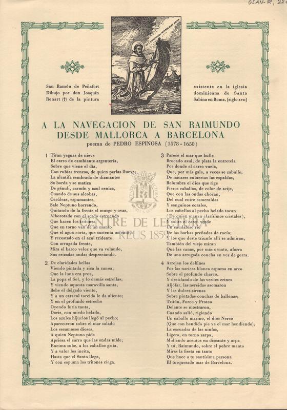 A la navegacin de San Raimundo desde Mallorca a Barcelona