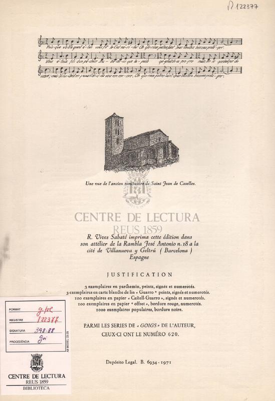 Cantique en louange du glorieux Saint Jean de Caselles vénéré dans son ancien sanctuaire de la paroisse de Canillo aux Vallées d'Andorre. Evéché d'Urgell.
