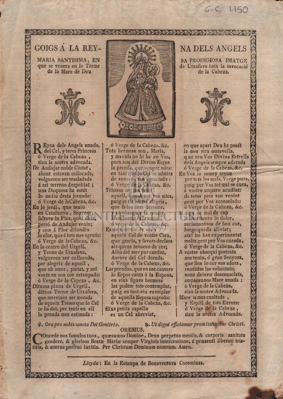 Goigs á la Reyna dels Àngels Maria Santisima, en sa prodigiosa imatge que se venera en lo terme de Utxafava baix la invocació de la Mare de Deu de la Cabeza