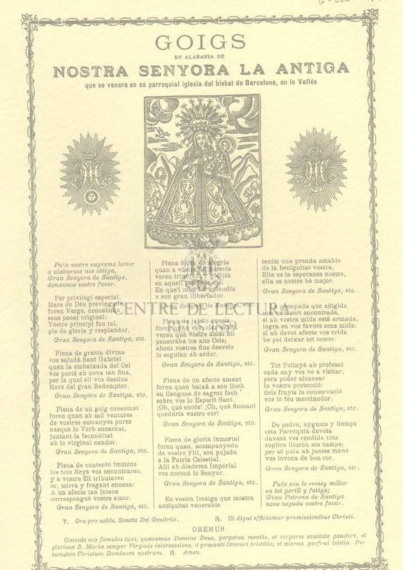 Goigs en alabansa de nostra senyora La Antiga que se venera en sa parroquial iglesia del bisbat de Barcelona, en lo Vallés