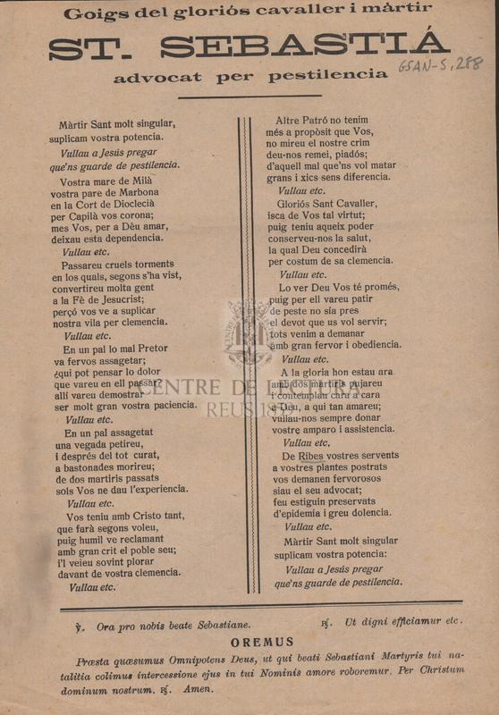 Goigs del gloriós cvaller i màrtir St Sebastiá advocat per pestilencia