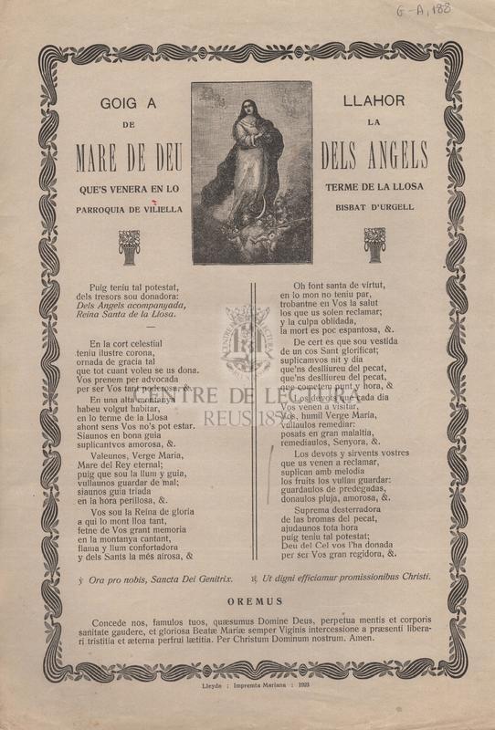 Goig a llahor de la Mare de Deu dels Angels que's venera en lo terme de la Llosa parroquia de Viliella Bisbat d'Urgell