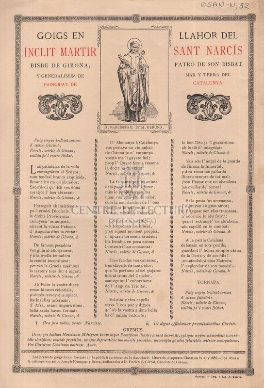Goigs en llahor del ínclit martir Sant Narcís Bisbe de Girona, patró de son Bisbat y generalíssim de mar y terra del Principat de Catalunya
