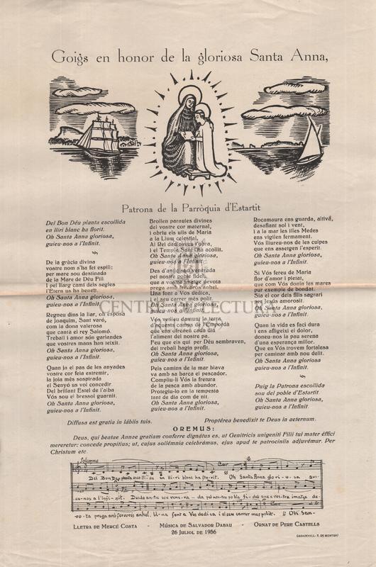 Goigs en honor de la gloriosa Santa Anna, Patrona de la Parròquia d'estartit