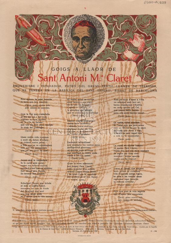 Goigs a llaor de Sant Antoni Ma. Claret Arquebisbe i fundador, patró del gremi tèxtil llaner de Terrassa, que es venera en la Basílica del Sant Esperit, Bisbat de Barcelona