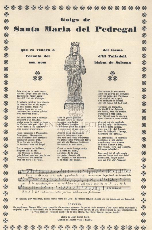 Goigs de Santa Maria del Pedregal que es venera a l'ermita del seu nom del terme d'El Talladell, bisbat de Solsona.