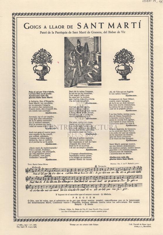 Goigs a llaor de Sant Martí. Patró de la Parròquia de Sant Martí de Granera, del Bisbat de Vic