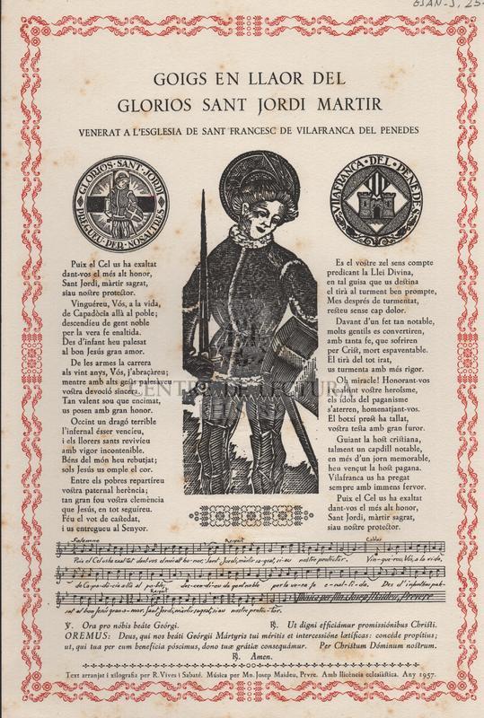 Goigs en llaor del glorios Sant Jordi Martir, venerat a l'esglesia de Sant Francesc de Vilafranca del Penedes
