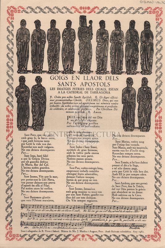 Goigs en llaor dels Sants Apostols les imatges petries dels quals, estan a la catedral de Tarragona