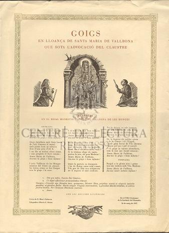 Goigs en lloança de Santa Maria de Vallbona que sota l'advocació del Claustre es venera en el Reial Monestir cisterc de Vallbona de les Monges