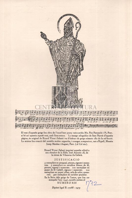 Goigs en llaor del gloriós martir Sant Narcís