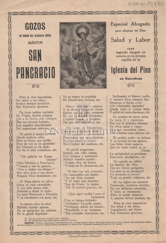 Gozos en honor del glorioso joven mártir San Pancracio especial Abogado para alcanzar de Dios salud y Labor cuya sagrada imagen se venera en la propia capilla de la Iglesia del Pino en Barcelona