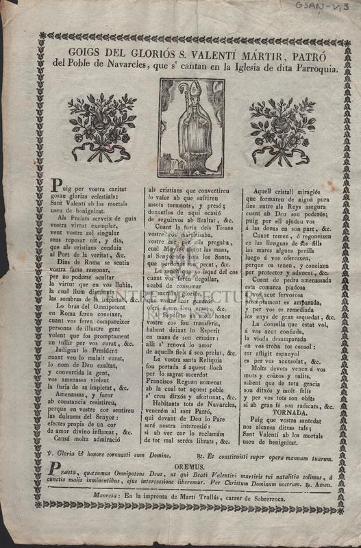 Goigs del gloriós S. Valentí Mártir, Patró del Poble de Navarcles, que s' cantan en la Iglesia de dita Parroquia