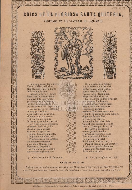 Goigs de la gloriosa Santa Quiteria, venerada en lo santuari de Cam-Majó.
