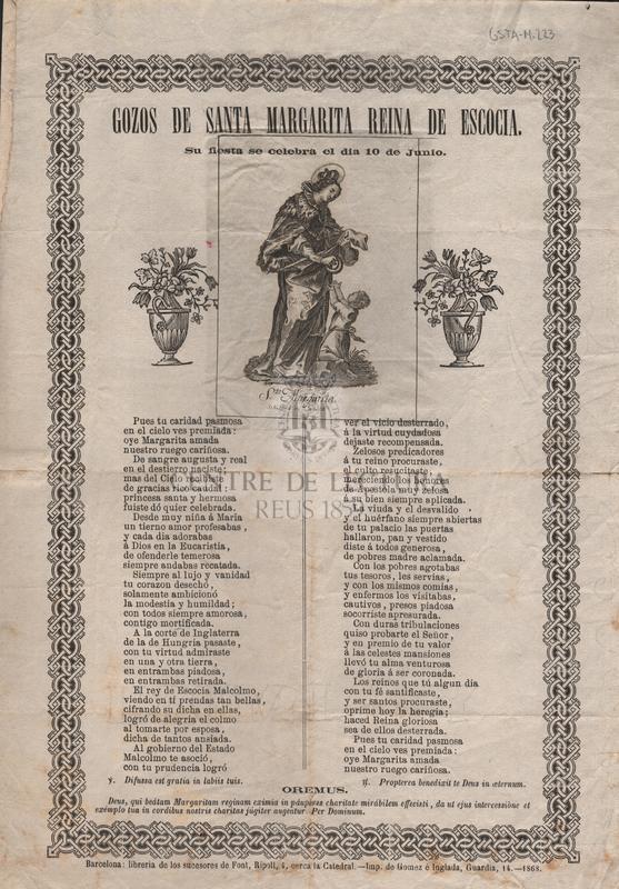 Gozos de Santa Margarita reina de Escocia. Su fiesta se celebra el dia 10 de junio.