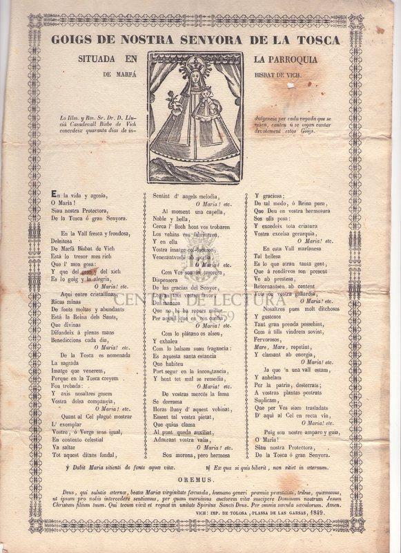 Goigs de Nostra Senyora de la Tosca situada en la Parroquia de Marfá Bisbat de Vich