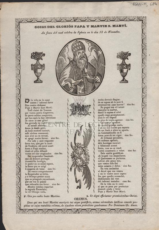 Goigs del gloriós Papa y martir S. Martí. La festa del cual celebra la Iglesia en lo dia 12 de Novembre